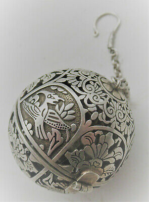 Very Interesting Post Medieval Near Eastern Silver Astrological Globe Pendant
