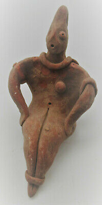 Rare Ancient Near Eastern Tel Halaf Seated Terracotta Fertility Figurine