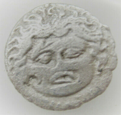 Unresearched Ancient Greek Struck Drachm Coin Gorgon Head
