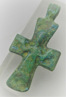 Superb Ancient Byzantine Bronze Crusaders Cross Amulet With Saint Depiction