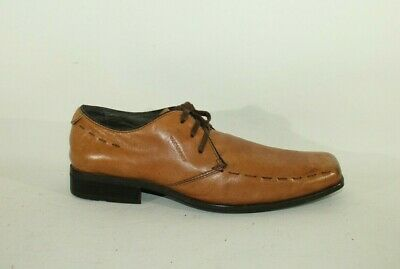 Men's Tan Leather VAGABOND Lace Up Office Casual Square Toe Shoes Size 7 / 41