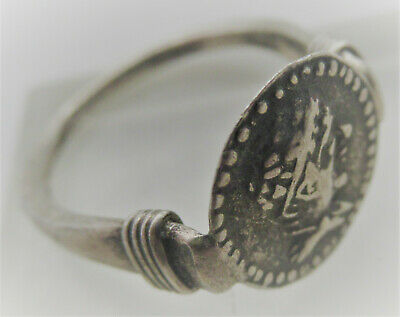 Circa 200Bce Ancient Indo Greek Kings Of Baktria Silver Seal Ring Euthydemos