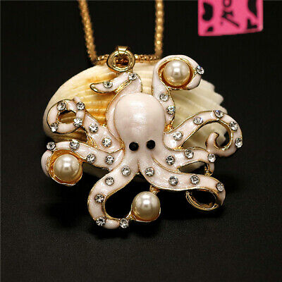 New Cute Crystal White Enamel Octopus Pearl Betsey Johnson Pendant Girl Necklace