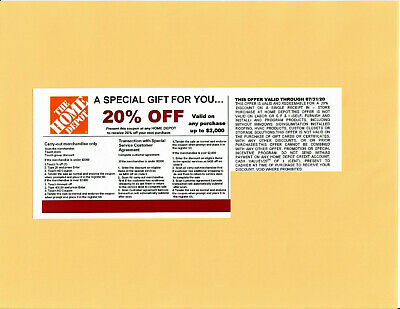 1 20% OFF HOME DEPOT competitors Coupon to use at Lowe's exp 07/31/20