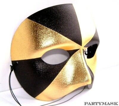 Venetian Masquerade Mens Quality Gold & Black Harlequin Half Party Mask New