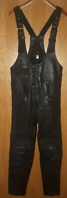 Black leather motorbike bib and brace Echtleder size 48