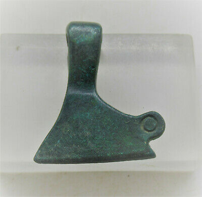 Circa 900-1100Ad Viking Era Norse Bronze Odin's Axe Amulet With Ring And Dots