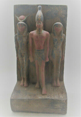 Superb Ancient Egyptian Glazed Stone Statuette Triad Circa 800-500Bce