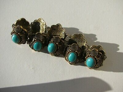 Vtg.old Chinese Silver Gold Gilt Ming Dynasty Pattern Persian Turquoise Bracelet