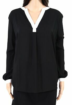 INC Womens Blouse Black White Size 2X Plus Contrast-Trim Split-Neck $49- 298