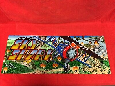 Vintage Video Game Header / Marquee ~ Romstar Sky Shark ~ 1987 (23X9 inches)