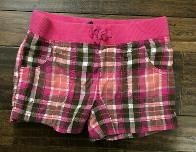 Faded Glory Pink Brown Plaid Toddler Girl's 4-5 XS Elastic Waist Cotton Shorts