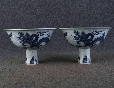A Pair Fine Old Chinese Antique Ming Blue&white Porcelain Dragon High foot Bowl