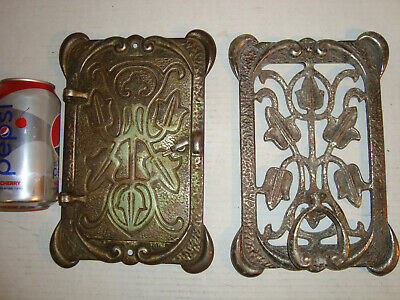 Vtg Antique Brass Flower Speakeasy Peep Hole Door Knocker Window Old Hardware