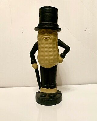 "Vintage PLANTERS PEANUTS MR PEANUT CAST IRON Metal COIN BANK 11"" VTG"