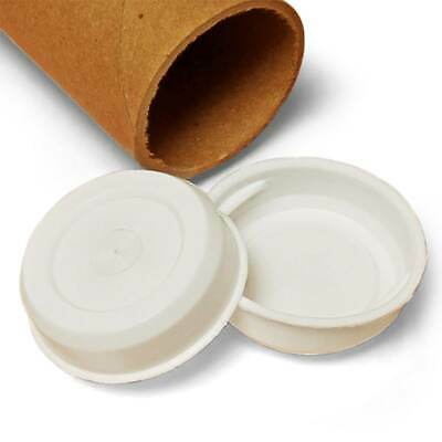 """2.5"""" White Plastic End Caps for Shipping Mailing Tubes Pack of 50"""