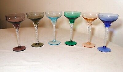 LOT of 6 HAND BLOWN TWISTED STEM MULTI COLOR GLASS CRYSTAL CORDIALS WINE GLASSES