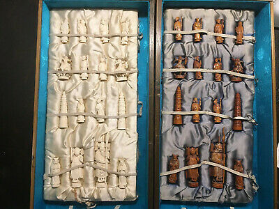 Antique Hand Carved Chinese Chess Set - Early 1900s - Scrimshaw