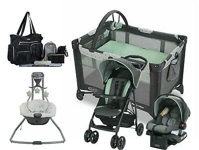 Graco Baby Stroller Car Seat Travel System with Playard Infant Swing Bag Combo