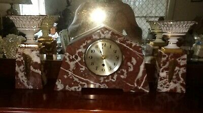 3 Piece French Art Deco Marble Clock & Garniture Set Mantel Desktop Working