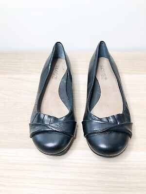 DIANA FERRARI Supersoft Black Business Work Leather Flat Comfort Shoes Size 6