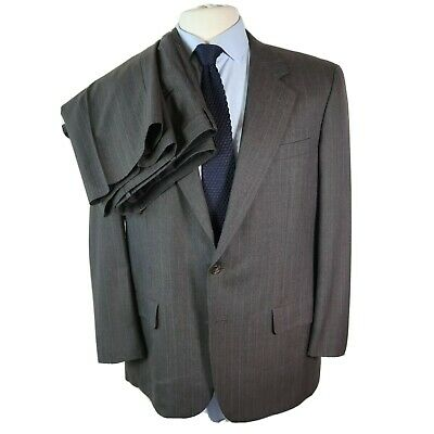 Hickey Freeman Men's Two Button Gray Wool Pin Stripe Suit Size 43 R