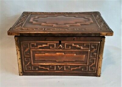 "Exquisite Antique Arts & Crafts 8 3/4"" w Hammered Copper & Brass Box, Must See!"