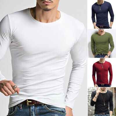Men's Long Sleeve T Shirt Casual Crew Neck Slim Fit Muscle Sport Tee Tops Blouse