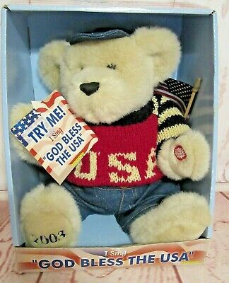 """Holy Bear 9/"""" blue color /""""God Bless Grandsons/"""" with blue heart on chest tag    F"""
