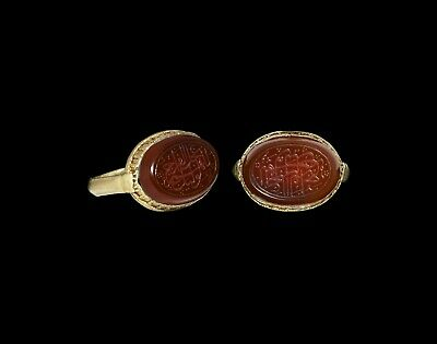 Islamic medieval Gold Ring with legend in nasta'liq script 12th-13th century AD