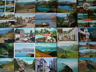 100 Used Postcards of CUMBRIA & THE LAKE DISTRICT. 1960's onwards.