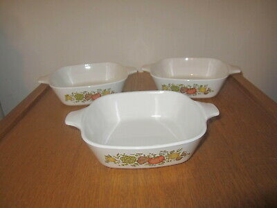 3 Corning Ware SPICE OF LIFE P-41-B 1 3/4 cup Casserole Baking Dish Set