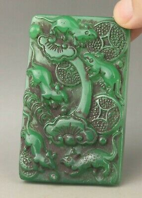 Chinese old natural jade hand-carved statue flower pendant 3 inch