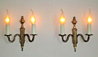 Beautiful Pair Antique French Brass Empire Style Double Arm Wall Lights 1813