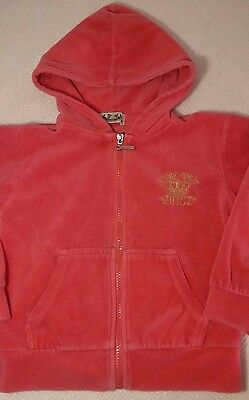 Juicy Couture - Coral Pink & Gold Velour Girls Zip Up Hoodie