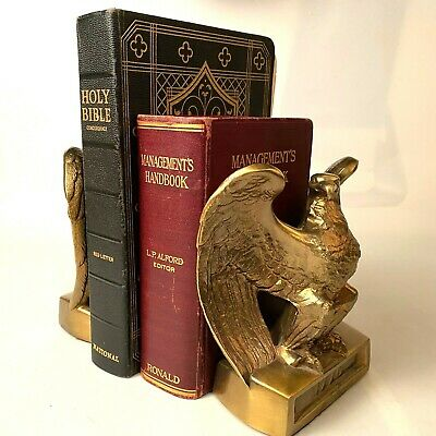 Two Vintage PM Craftsman Heavy Brass American Eagle 1776 Book Ends Collectible