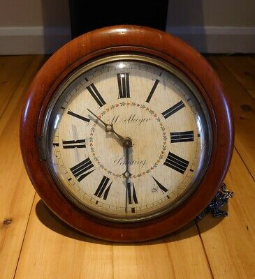 Antique bevelled glass Wall Clock M. Mayer Reading