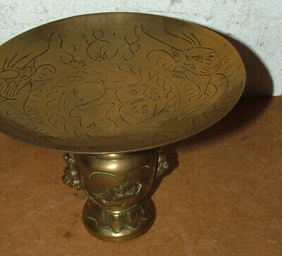 Antique Heavy Brass Chinese Dragon Bowl On Stand