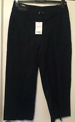 BNWT Size 12 Regular NEXT Navy Blue Wide Cropped Trousers - Workwear Rrp £32