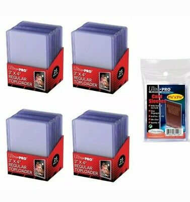100 Ultra Pro Regular 3 x 4 Toploaders Top loaders + 100 soft sleeves