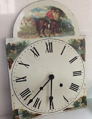 Naive Painted Antique C18th Long Case Clock Face & Quartz Movement