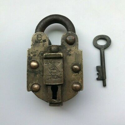 Old Antique Solid Brass Padlock Lock Collectible trick puzzle with key