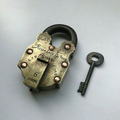 Old Solid Brass Padlock Lock Collectible trick or puzzle with key
