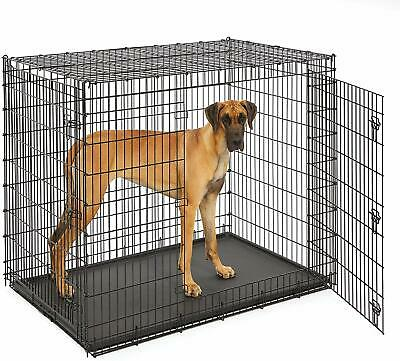 "Dog Kennels EXTRA LARGE Dog Crate 48"" Folding Cage Metal Double Door BIG XXL"