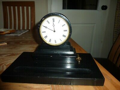 Small Antique French 8 Day Timepiece Slate Drumhead Desk Clock