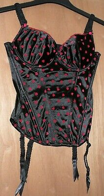 la senza black&red corset, suspender belt and thong size 34B/12 new w/o tags