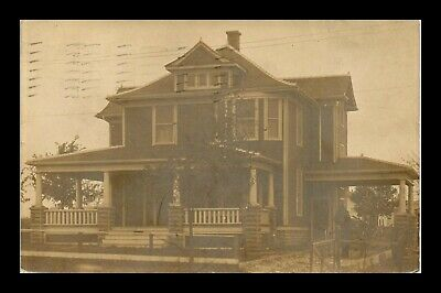 Us Sepia Rppc Postcard Front View Old Two-Story House