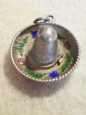 Vintage STERLING SILVER with Colorful Enamel Detail HAT Mexican SOMBRERO CHARM