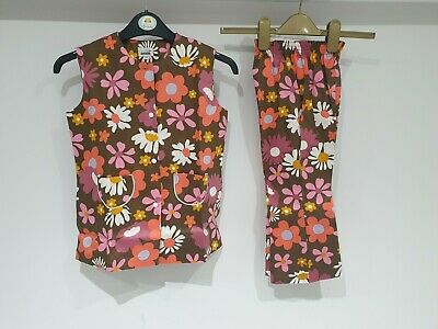 GIRLS Vintage Floral Tunic & Trouser Suit Age 4 To 5 Year's Original 1970 Unworn