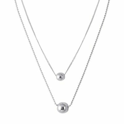 Sterling Silver 925 Double Chain Beaded Necklace Two Layer Elegant Necklace N125